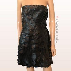 VALENTINO Black Leather Strapless Dress